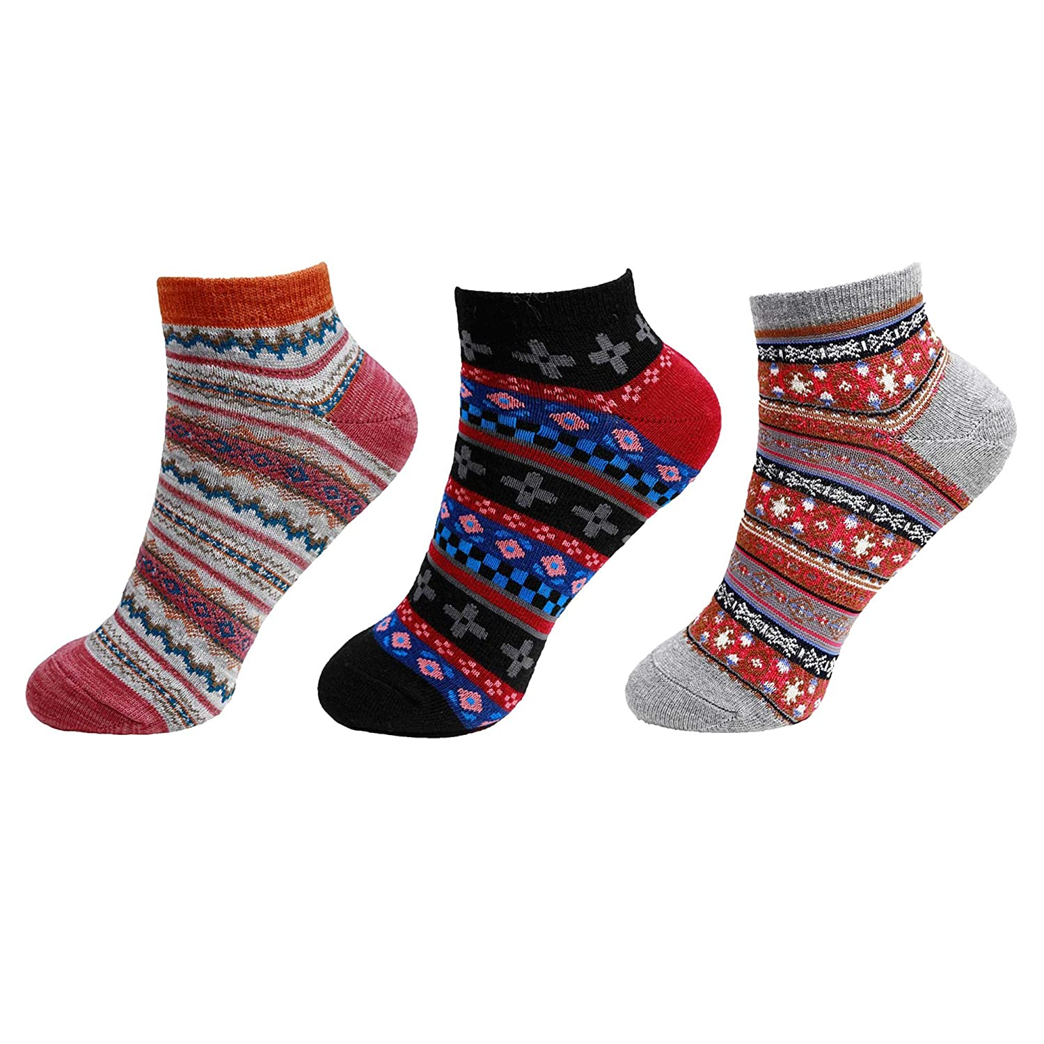 7e62a2b74eb1 Women's Vintage Style Knitted Colorful Cotton Anklet Socks -3A, Size M/L - 3  prs at Amazon Women's Clothing store: