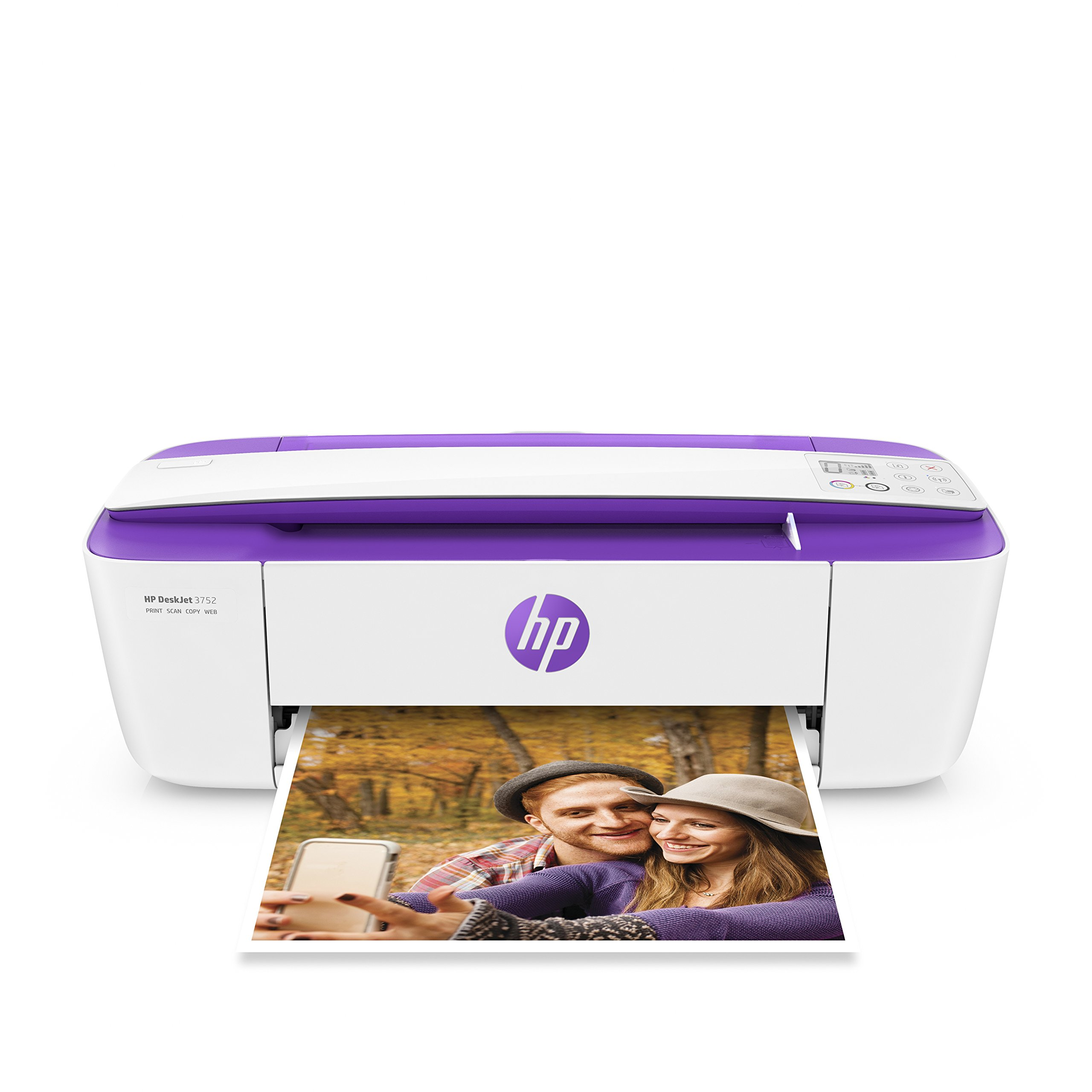 HP DeskJet 3752 Wireless All-in-One Compact Printer with Mobile Printing, Instant Ink ready - Purple Accent (T8W52A)