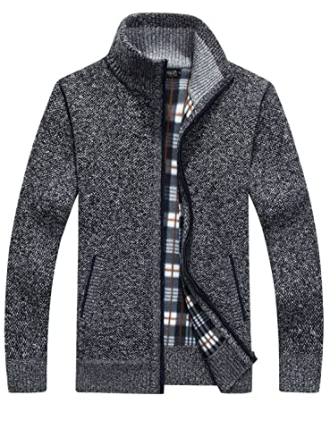 Yeokou Mens Casual Stand Collar Mountain Full Zip Fleece Jacket with Pockets