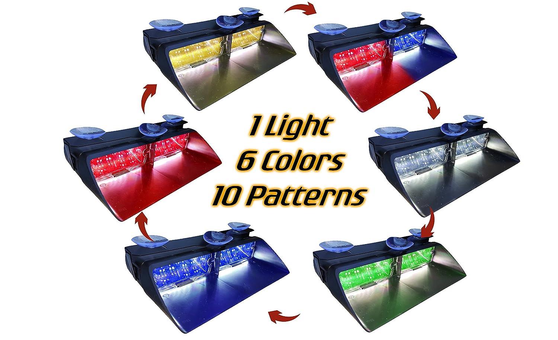 Warningworx LED Strobe High Intensity Law Enforcement Emergency Hazard Warning Lights Suction Cups Dash Window Interior