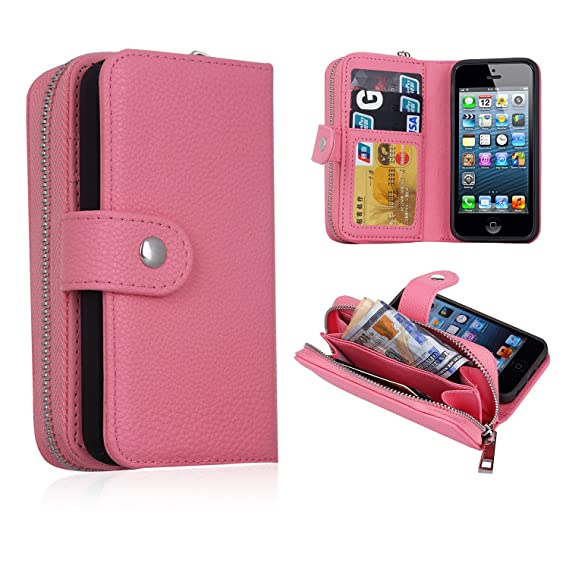 meet 42d84 f4cd9 iPhone 5/5s/SE Wallet Case, Magnetic Detachable Removable Wallet Zipper PU  Leather Case with Strap and Credit Card Slot for iPhone 5/5s/5E (Pink)