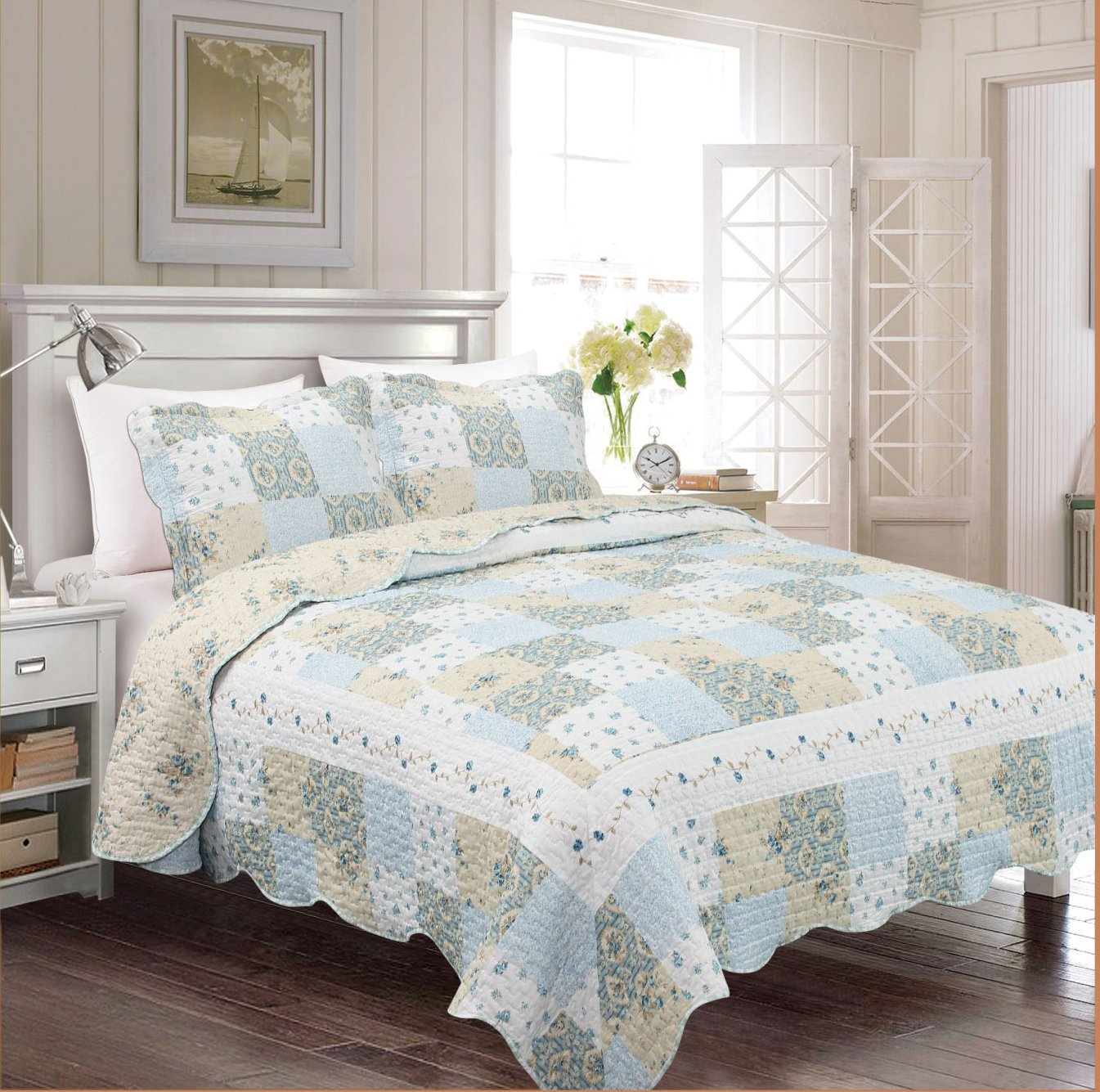 Fancy Collection 3pc Bedspread Bed Cover Floral Off White Blue Beige Reversible New # Mdison (Full/Queen)
