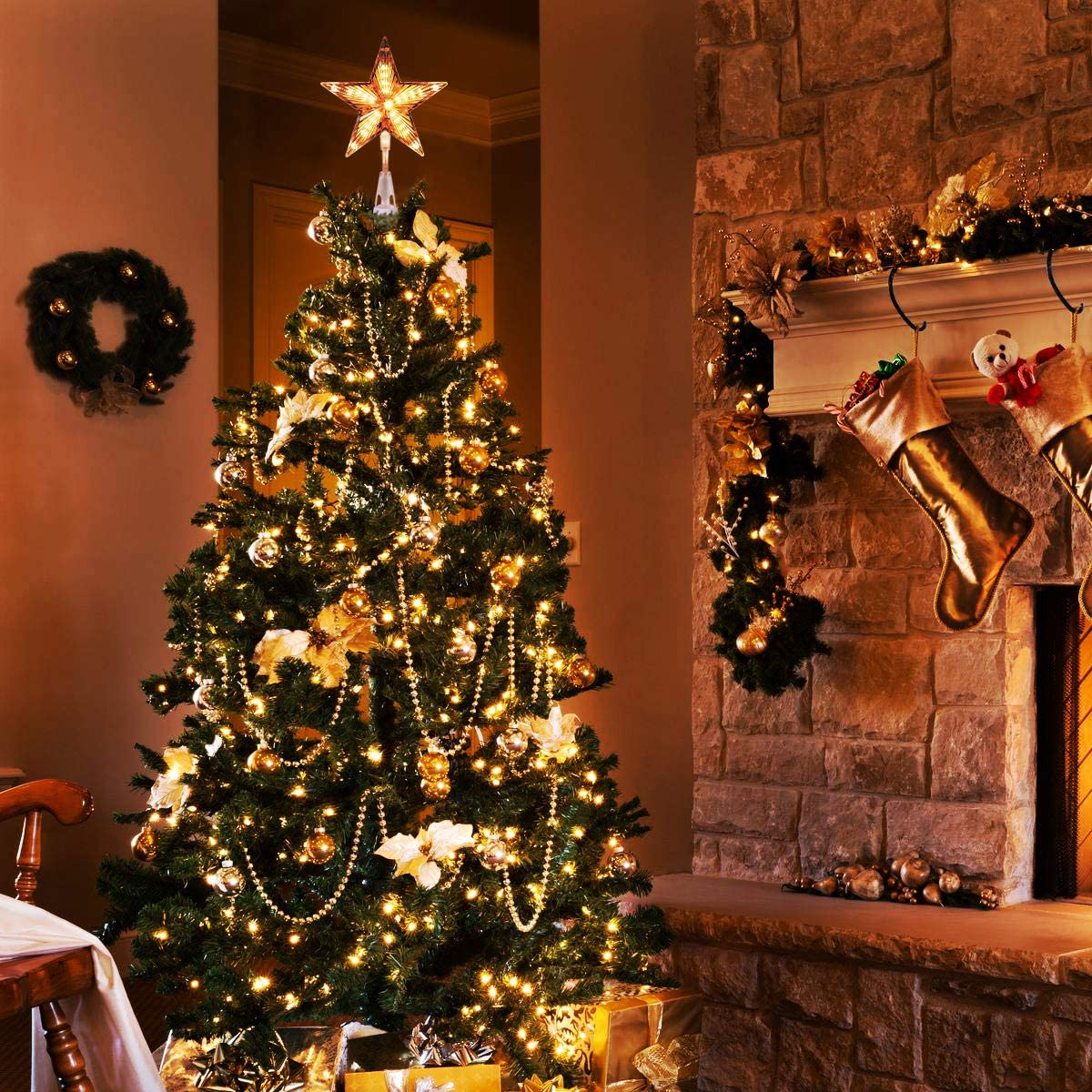 Christmas tree decoration, Christmas Tree Topper Clear Tree Topper Light for Christmas Tree Ornaments