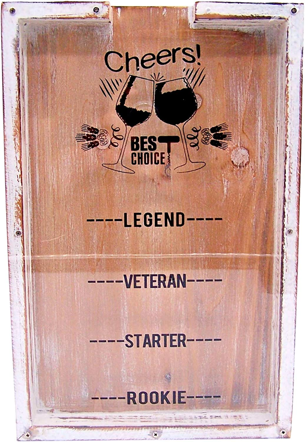 Wooden Wine Cork Shadow Box, Cork Holder Wine Decor for Home and Kitchen, Rustic White, 14.5 Inch
