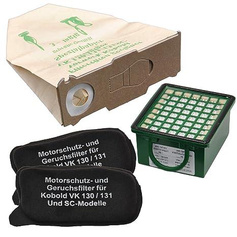 Juego de 10 bolsas para aspiradora, 1 Hepafilter, 2 filtros de motor indicado, apto para Vorwerk Foletto Kobold 130 131