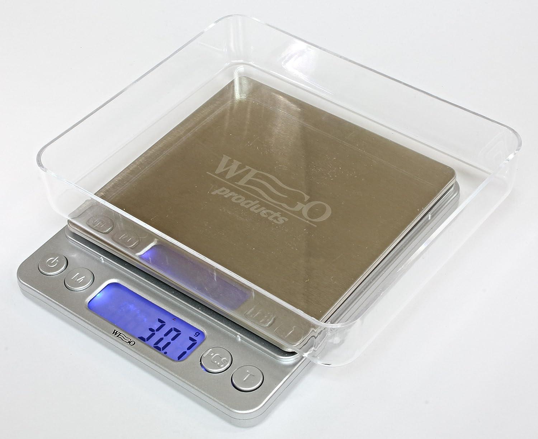 WEGO Balanza de cocina Digital, escala digital, escala carta con una precisión de 0,1 gramos, peso máximo es de 3 kg, que contiene varias unidades: / ml ...