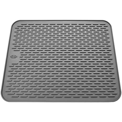 Silicone Dish Drying Mat - Large 19.7x15.7 - Sink Mat - Dish Draining Mat -  Silicone Trivet Mat - Heat Resistant - Countertop Mat - Kitchen Drying Mat  ...