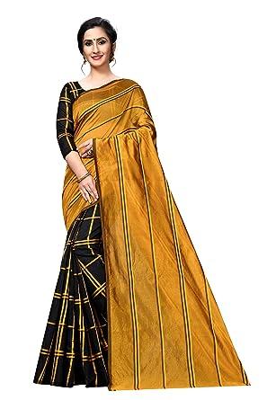Perfectblue Women's self design cotton Silk Saree  2in1Variation   MustardBlack  Sarees