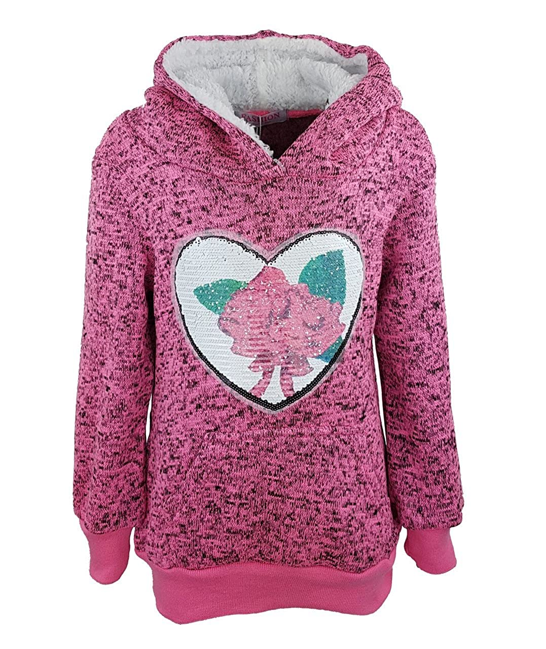 warmer Mä dchen Kapuzen Pullover, Pulli, mit wechsel Pailletten, Sweatshirt, MS06e