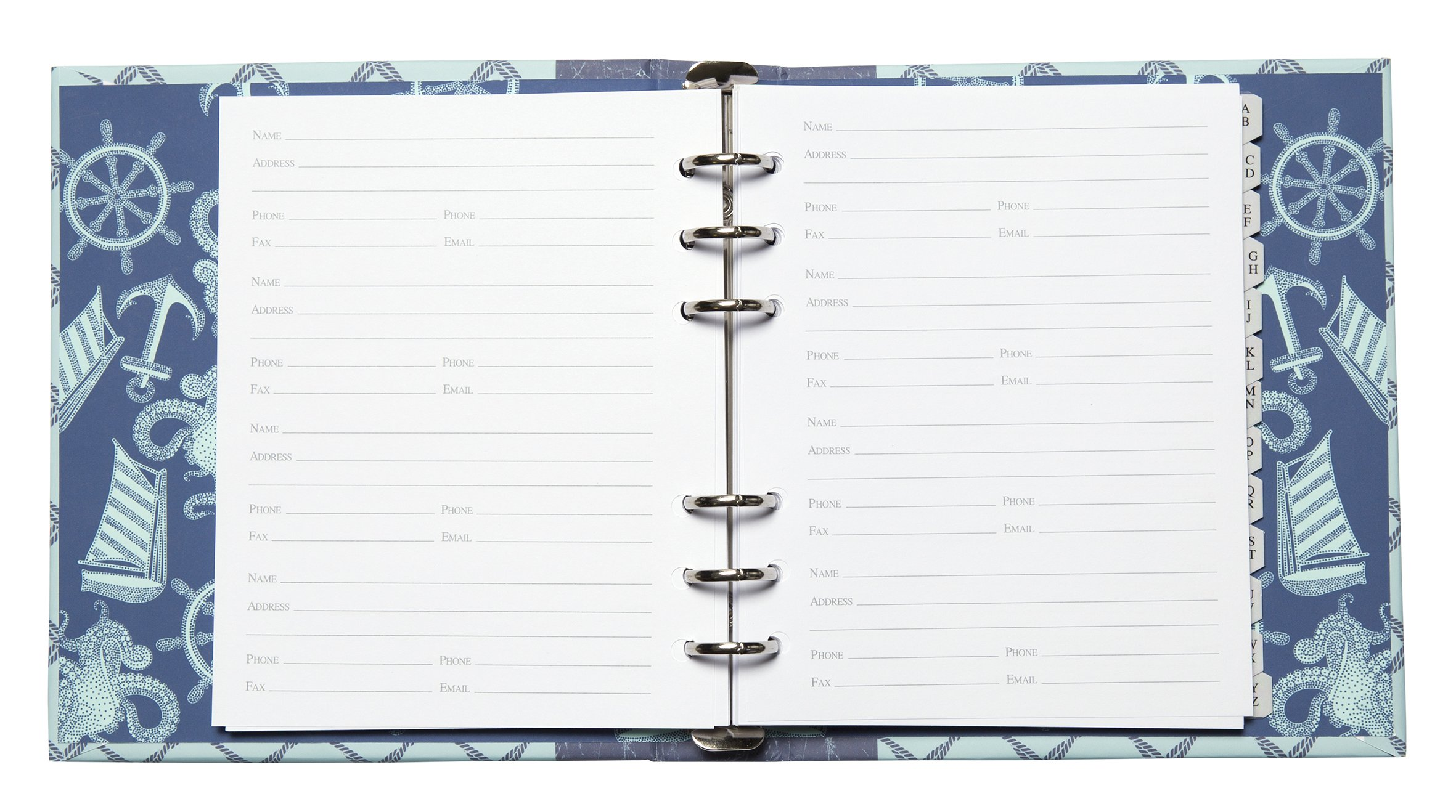 C.R. Gibson Refillable Address Book, 6-Ring Binder Format, Tabbed Dividers, 4 Entries Per Page, 440 Contacts, Measures 6.5'' x 7.25'' - Ocean's Depth by C.R. Gibson (Image #2)