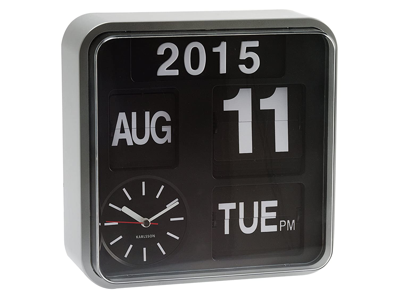 karlsson square flip clock wall clock calendar silver retro brick desk wall clock