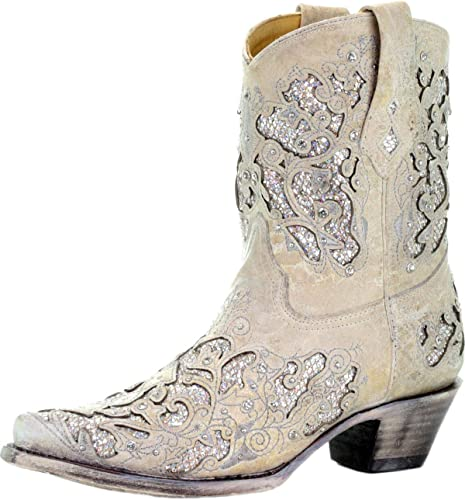 White Leather Glitter Inlay Ankle Boot