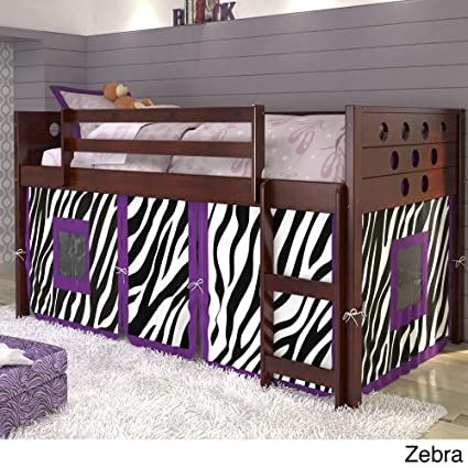 Amazon Com Donco Kids Twin Circles Low Loft Bed Zebra Tent