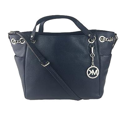 31ee37ff8930 Michael Michael Kors Jet Set Chain Item Large Gather Leather Shoulder Tote  (Navy): Handbags: Amazon.com