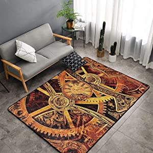 Bedroom Livingroom Sitting-Room Queen Size Area Rug Home Decor - Cool Steampunk Gears Floor Pad Rugs Quick Dry Throw Bath Rugs Yoga Mat Non-Slip Throw Rugs Carpet