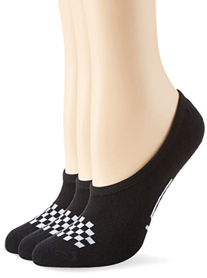 Vans Womens Girls Basic Canoodle No Show Socks (Girls Shoe Size 1-6, Black/White)
