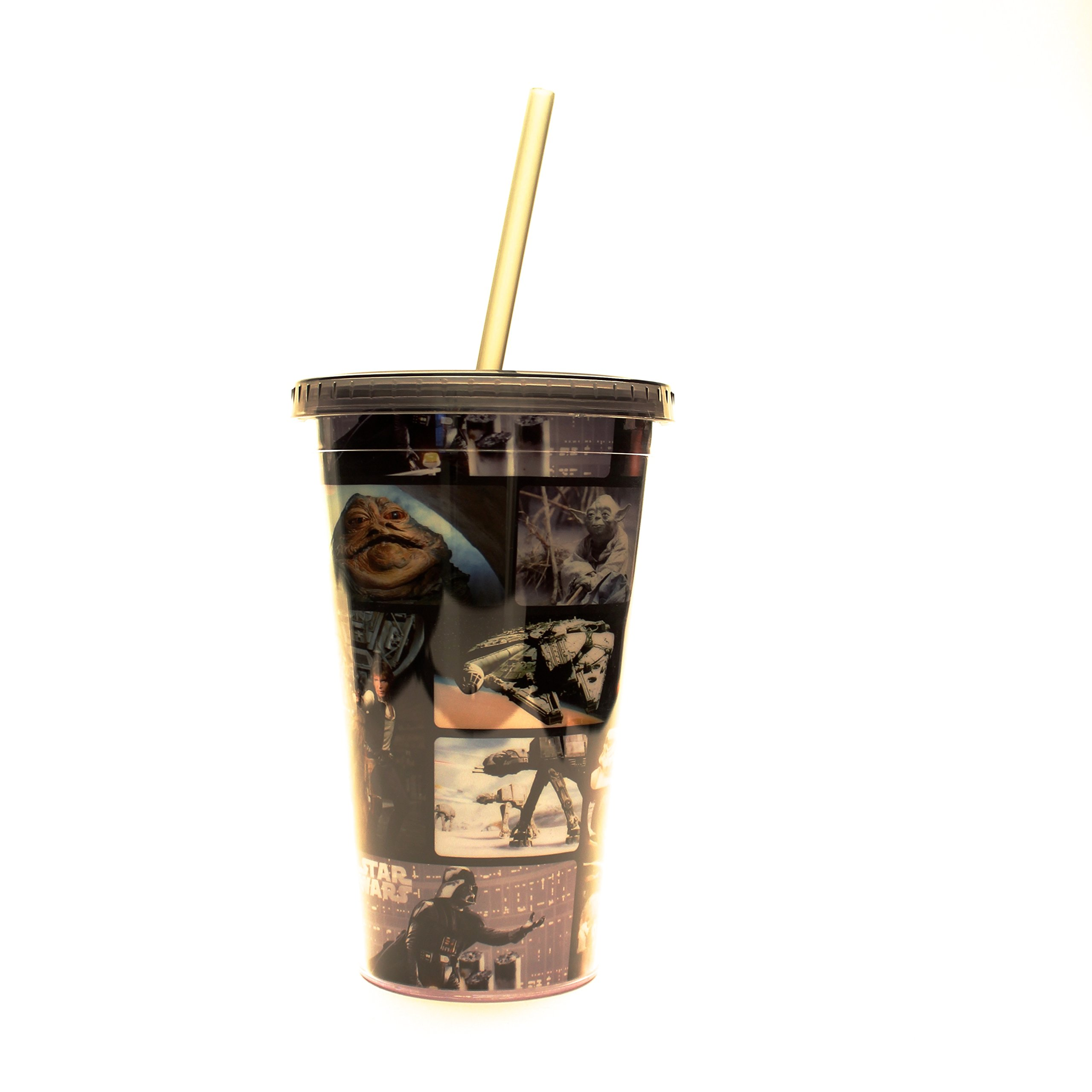 Silver Buffalo SW90087 Star Wars Grid Plastic Cold Cup with Lid and Straw, 16-Ounces