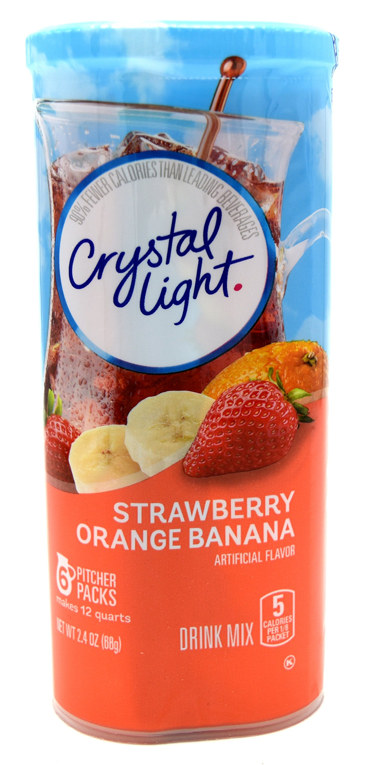 Crystal Light Strawberry Orange Banana Drink Mix, 12-Quart 2.4-Ounce Canister (Pack of 7)