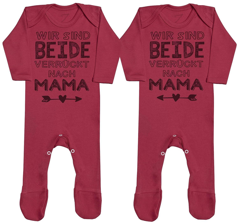 Baby Zwillinge M/ädchen Strampler Strampelanzug Baby Zwillinge Strampler Zarlivia Clothing Wir sind beide verr/ückt nach Mama Baby Zwillinge Jungen Strampler