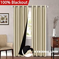 213 cm Drop 100% Blackout Curtains for Bedroom Dupioni Faux Silk Lined Curtain Panels for Living Room - Thermal Insulated & Energy Efficiency, Nickel Eyelet (Set of 2)