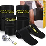 FEOAMO 4 Pack Arm and Thigh Trimmers Sauna Sweat Bands Wraps Arm Trimmers Sleeves Leg for Women Weight Loss, Improve Sweating & Circulation