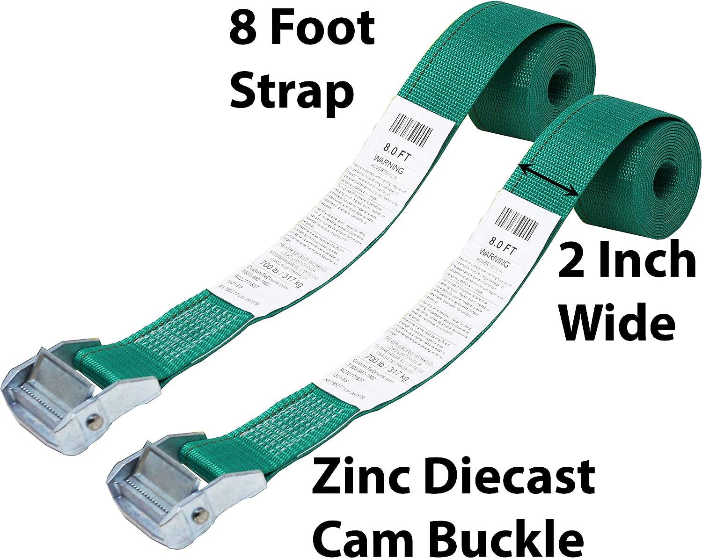 No Hooks Zinc Diecast Cam Buckle Polyester Tie-Down Webbing. Shrink Wrap Packaging 2 Inch Cinch Strap Endless Loop Tie Down CustomTieDowns 2 Pack Endless Loop