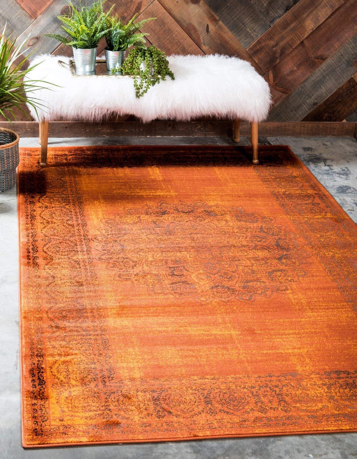 Unique Loom Imperial Collection Modern Traditional Vintage Distressed Terracotta Area Rug 13 0 x 19 8