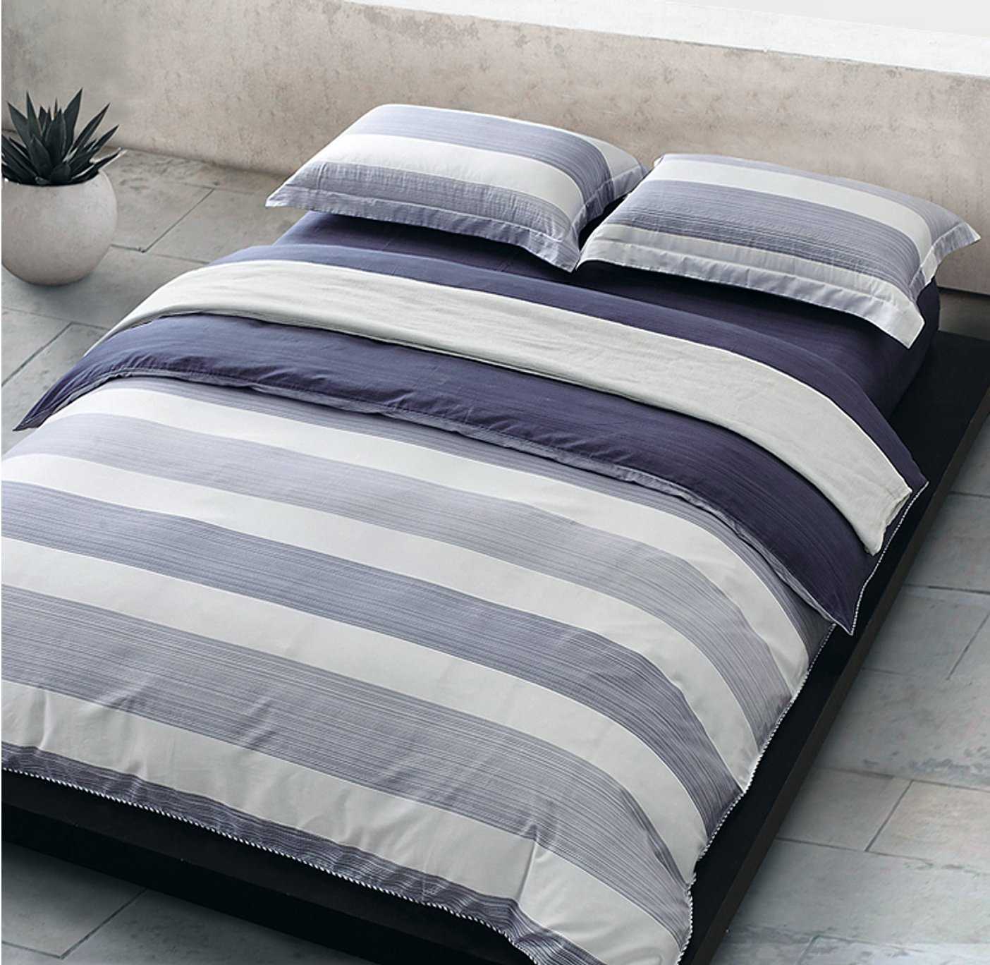 amazoncom cabana stripe modern duvet cover 100 cotton twill bedding set geometric white and navy distressed rugby stripes print in dusty blue shades - Navy Bedding