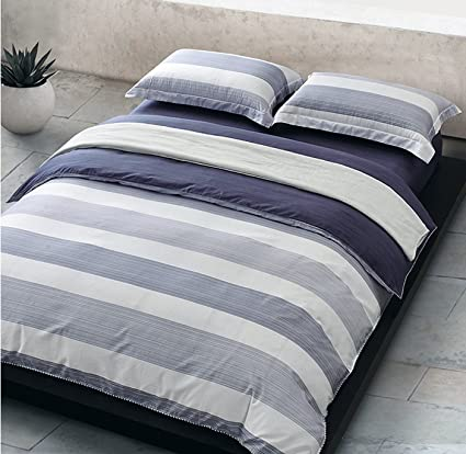 Cabana Stripe Modern Duvet Cover 100 Cotton Twill Bedding Set Geometric  White And Navy Distressed