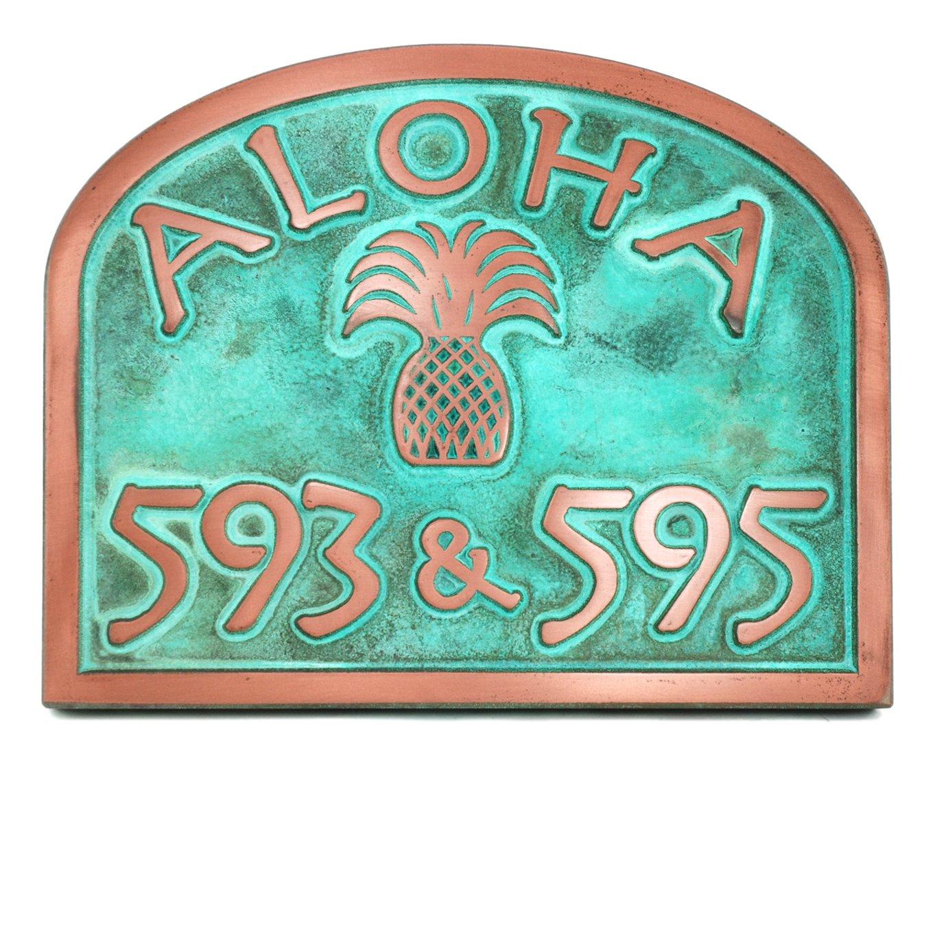 Aloha Hello Welcome Pineapple Address Plaque 16x12.6 - USA Made - Raised Copper Verdi Coated