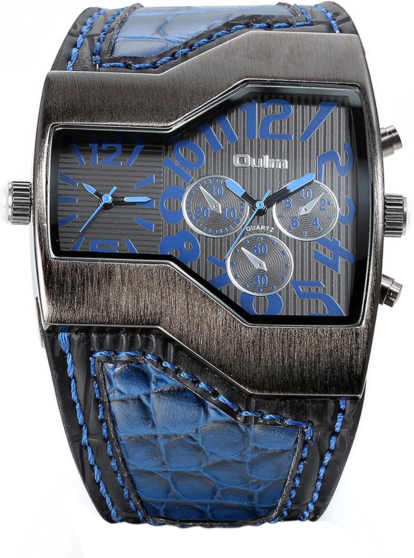 JewelryWe Reloj Militar y Deportivo con Doble Mecanismo de Cuarzo Correa de Cuero para Hombre con subdiales Decorativos