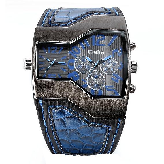 Avaner Grande Reloj de Hombre Militar Deportivo Reloj de Pulsera Azul, Correa de Cuero Ancha Reloj de Piloto 2 Zonas de Horarios Diferentes, 3 Subesferas ...