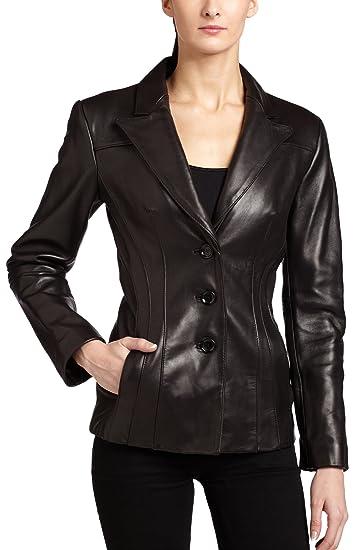 5688c3afb Jones New York Women's Single Breasted Leather Blazer, Black, Small ...