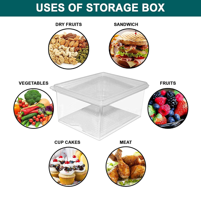 ... Caja de Refrigerador de acrílico Plástico Transparente con Bandeja de Drenaje para Carne, Pequeños condimentos, Leche, Vegetales: Amazon.es: Hogar