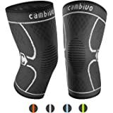 CAMBIVO 1 Pair Knee Support, Knee Brace Compression Sleeves for Running, Meniscus Tear, Arthritis, ACL,Joint Pain Relief & Ligament Injury Recovery, Skiing, Sports Weight Lifting - CE & FDA Approved