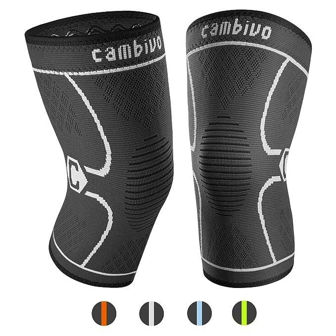 CAMBIVO Pack 2 ortesis de rodilla, rodilla soporte de manga de compresión para correr (M: 43-50cm, Negro/Gris): Amazon.es: Salud y cuidado personal