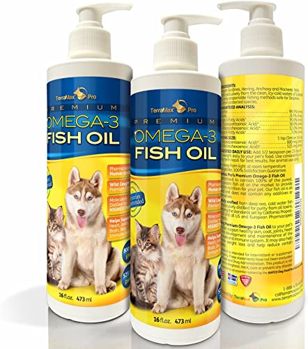 TerraMax Pro Premium Liquid Omega-3 Fish Oil for Dogs and Cats – All-Natural Human Grade Food Supplement – Wild Caught from The Nordic Waters of Iceland – Higher EPA, DHA Than Alaskan Salmon Oil