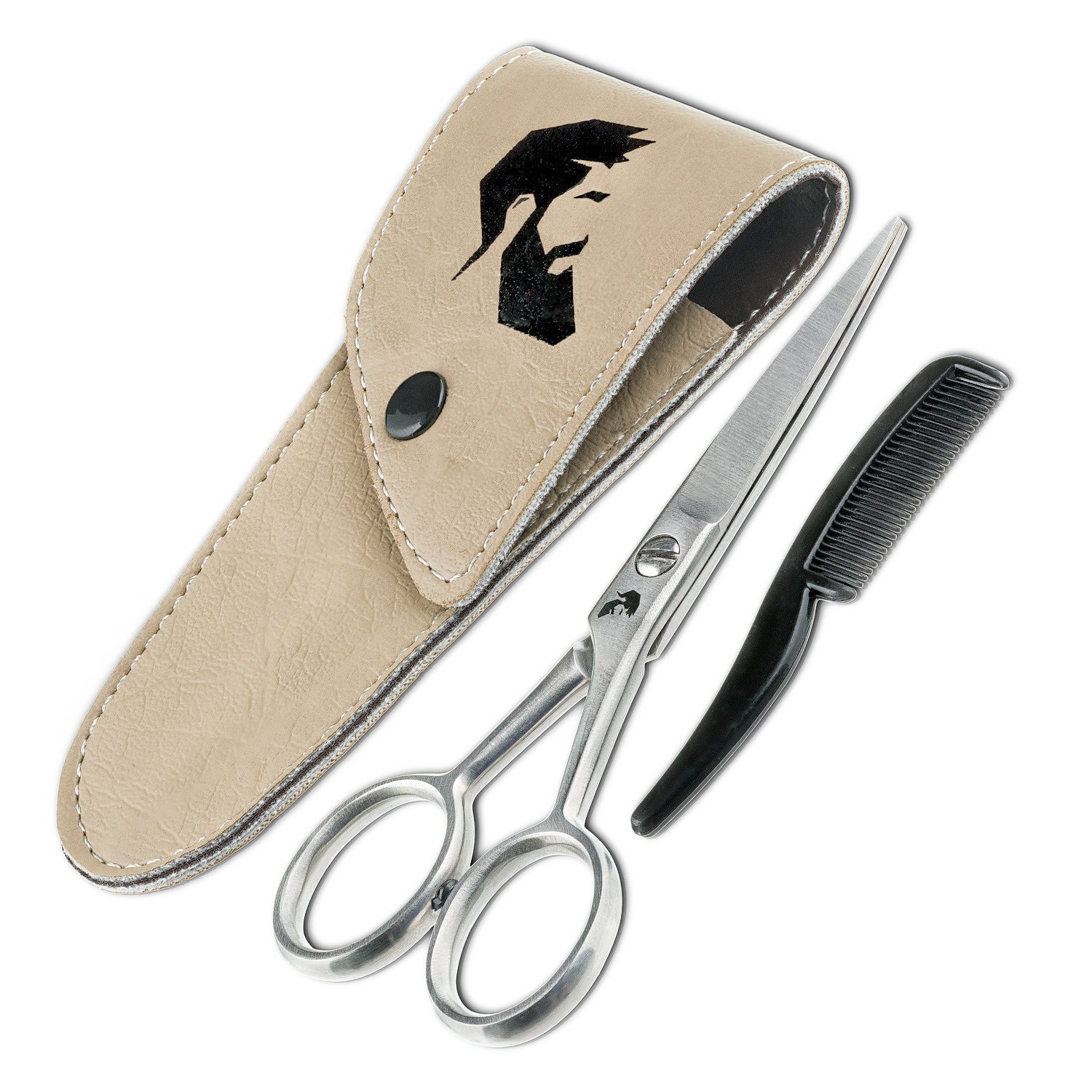Professional Sharp and Precise Beard Scissors with Comb and Leather Pouch for Men with Comfort Grip for Trimming Grooming Cutting Mustache, Hair Splinters, Eyebrows and more