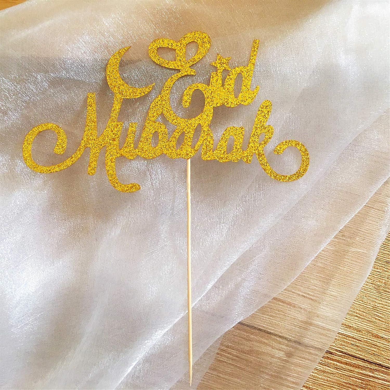 Moon Star Cake Topper Eid Mubarak for Eid Ramadan Party Wedding Engagement Baby Shower Decoration Muslim Festival Party Decoration