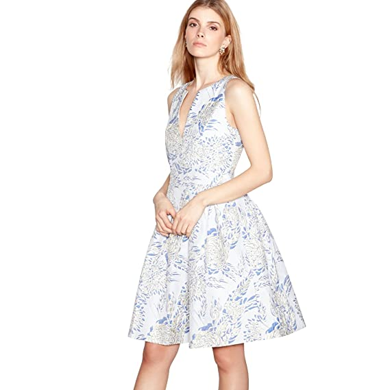 Y.A.S Yas Womens Blue Floral Jacquard 'Blush' Sleeveless Mini Dress 8