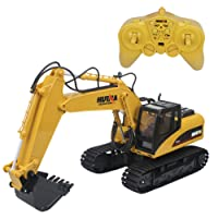 Hugine 15 Channel RC Excavator 2.4Ghz Crawler Full Function Remote Control Construction Vehicle Digger Tractor with Lights and Sound