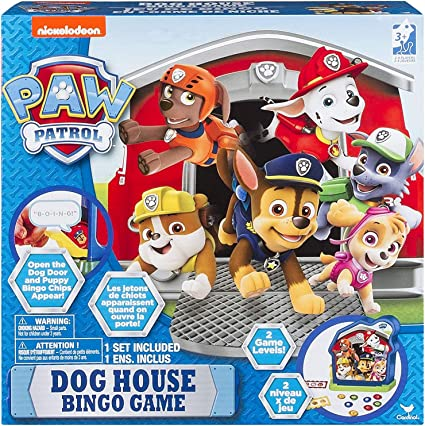 Amazon Com Paw Patrol Dog House Bingo Game For Kids Featuring Marshall Rubble Chase Rocky And More Toys Games