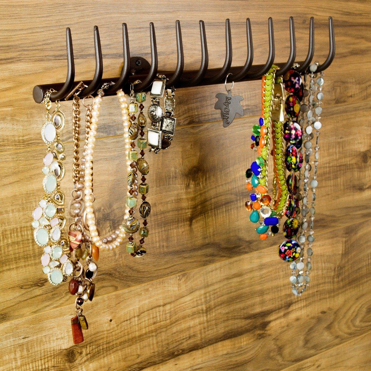 12-Hook Country Garden Rake Design Wall Mounted Metal Jewelry Storage Rack / Necklace Organizer, Brown