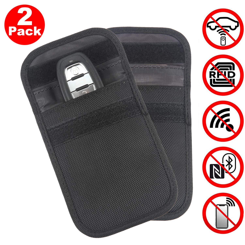 ACENTIX Car Key Signal Blocker with Keyring, Oxford Faraday Bag for Car Keys, Keyless Car Key Signal Blocking Pouch, RFID Entry Protector Fob Guard-Faraday Bag Blocks RFID/NFC/WIFI/GSM/LTE (2 Pack)