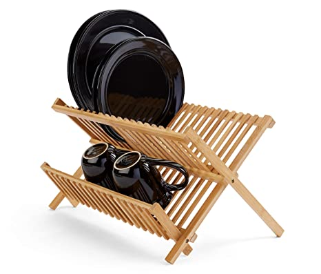 Bamboo Dish Drying Rack.Dish Drying Rack Bamboo Dish Rack Plate Rack Collapsible Dish Drainer Foldable Dish Drying Rack Wooden Plate Rack Made Of 100 Natural Bamboo By
