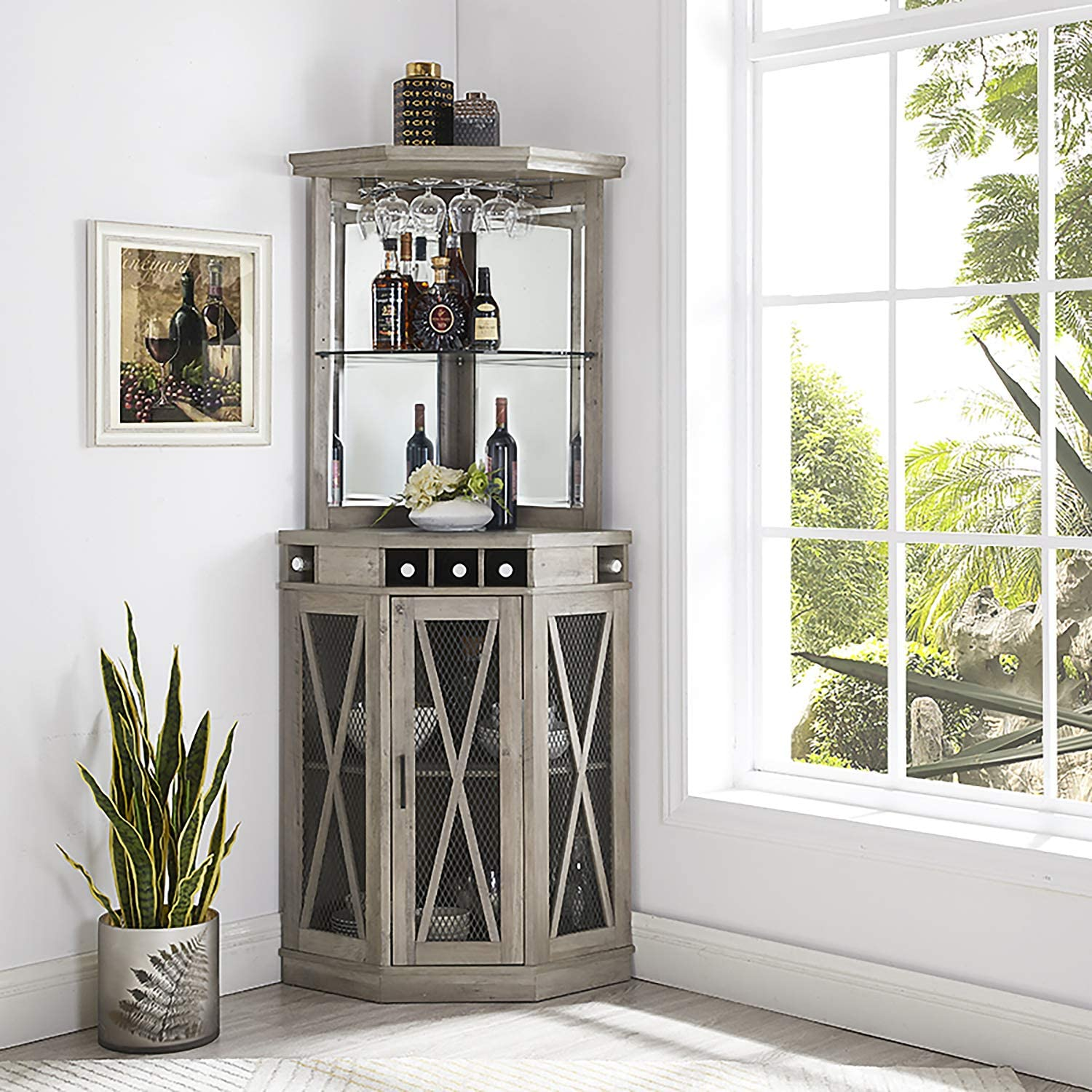 Home Source Corner Bar Unit with Built-in Wine Rack and Lower Cabinet (Stone Grey)