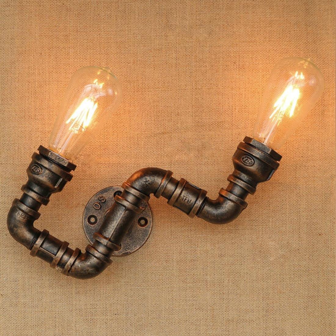 Retro Wandleuchte Industriell Vintage Leuchte Rohr Schlauch Wandlampe mit Sockel Kreativ Eisen Edison Lampe E27 Innen Dekorativ Direkt Beleuchtung für Hotel Balkon Nachttischlampe Flurlampe Bar, F