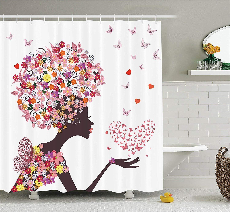 werert Shower Curtain for Girls Butterflies Heart Decor, Girl with a Heart Butterflies of Butterflies Enjoying Blossoms Summer Fantasy Happy Image, Fabric Bathroom Shower Curtain,rosado Yellow 72 X 72 5fcf55