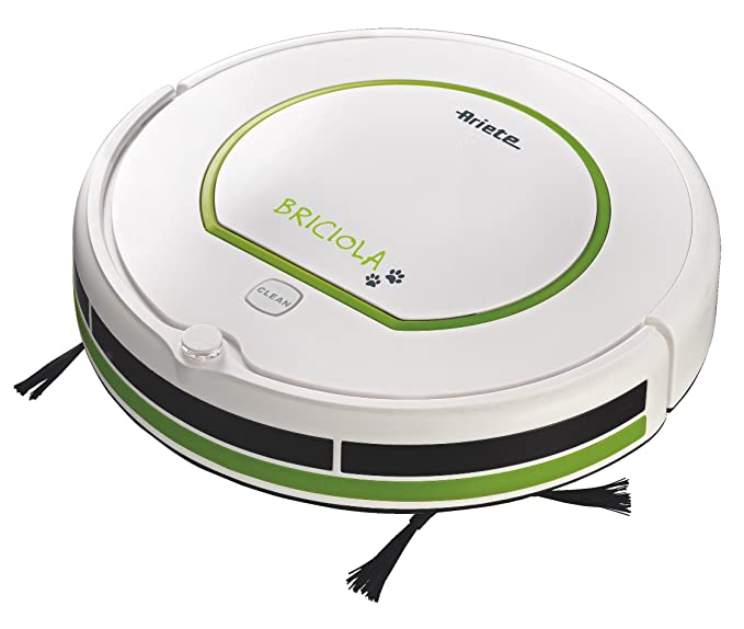 Ariete 2711 2711-Asporador Robot (1300 W, 6 programas, 33 cm/s, Filtro de Salida, 2 cepillos, Pantalla LCD), 25 W, 69.4 Decibeles, Blanco y Verde: ...