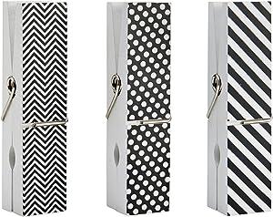 Melannco Oversize Clothespin Picture Frame, Black/White, 3 Piece - 5209800